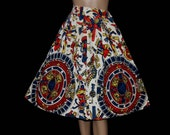 Vintage 1950s Skirt Full Circle Tribal Print Cotton Retro Rockabilly Cup Cake Garden Party Swing Jive Mad Men Dress