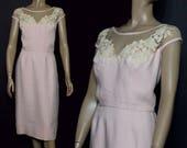 1950s Dress Cocktail Party Dress Sheer Nylon Linen floral applique Satin Lined Wiggle Dress Hourglass Dress 50s Pink Dress