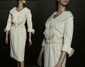 Vintage 1950s Dress Cream Color Shawl Collar Fringing Fully Lined Matching Belt Jackie O Femme-Fatale Wool Dress