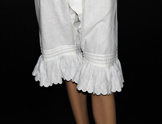 Vintage 1800's Bloomers// White//Embroidered //Op… - image 7
