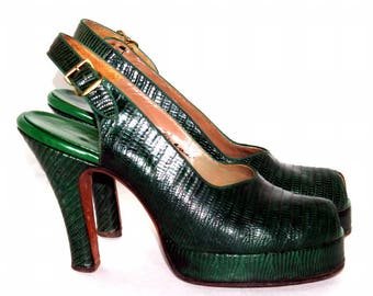 Vintage 1940S platforms// Green// Lizard Skin// Designer Beleganti//Pin Up Shoes//40s Green Platforms// Pumps// Slingbacks//Pumps//Green