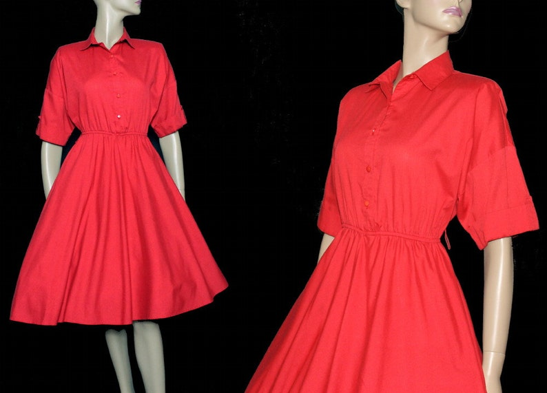 854b7300b8f Vintage 1950s Dress Red Shirt Dress Rockabilly Garden Party