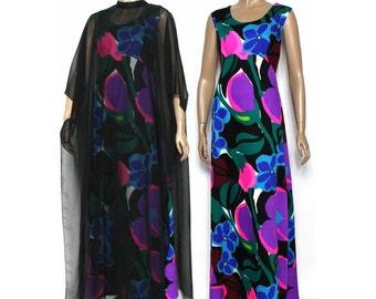 Vintage 1960s Dress// Big Floral Print// Chiffon Overlay//Diva Dress//Party Dress