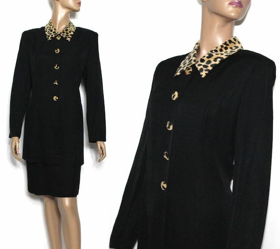 Vintage 1980s Dress // Black 80's Dress// Leopard