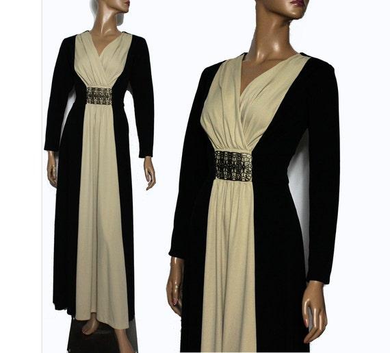 Vintage 1960s Gown //Black // Tan // Brass Buckle