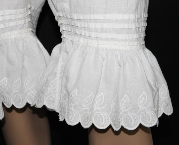 Vintage 1800's Bloomers// White//Embroidered //Op… - image 6