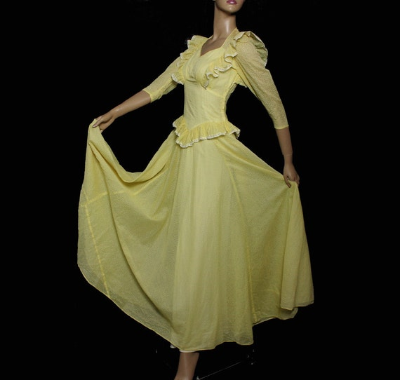 Vintage 1930s Early 1940s Gown Dress Southern Belle Of