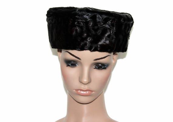 Vintage 1950s Hat//Black Pillbox// 50s Pillbox Hat