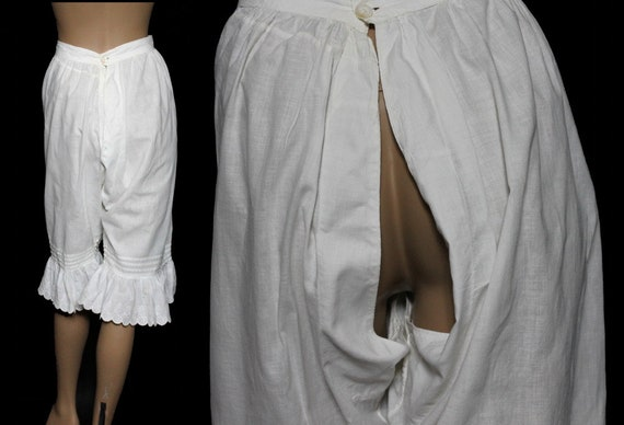 Vintage 1800's Bloomers// White//Embroidered //Op… - image 3