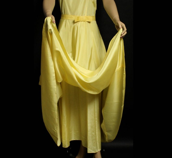 Vintage 1930s Dress Yellow Cocktail Party Prom Dr… - image 4