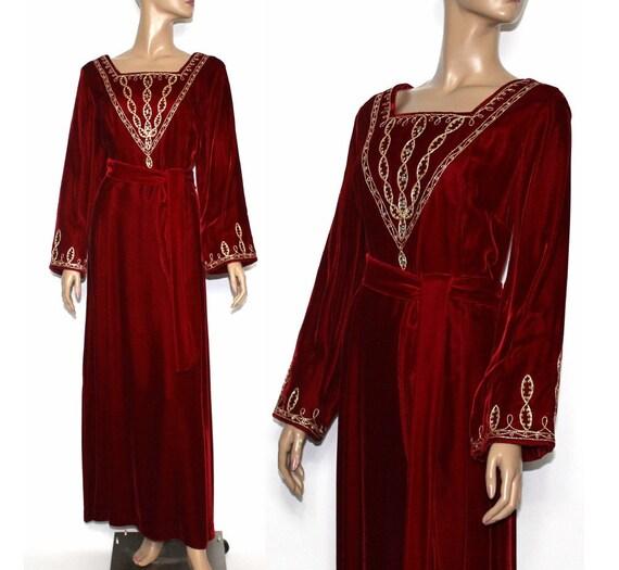 Vintage 1970s Robe - Velvet Gold Cording Clear Rhi