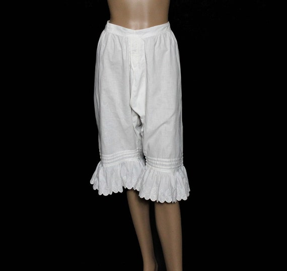 Vintage 1800's Bloomers// White//Embroidered //Op… - image 1
