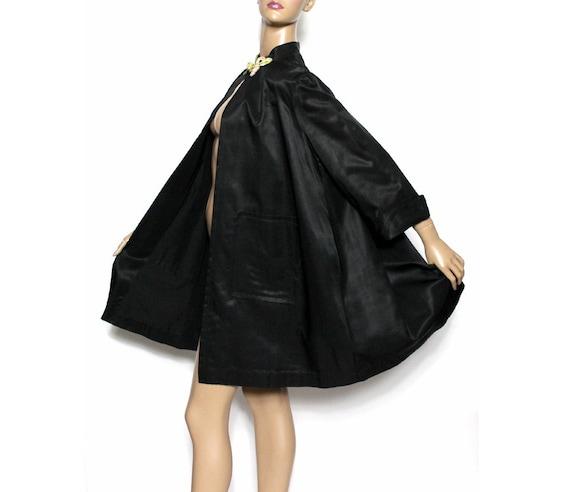 Vintage 1950s Coat// Swing Coat// Black// Designer