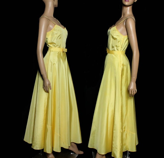 Vintage 1930s Dress Yellow Cocktail Party Prom Dr… - image 2