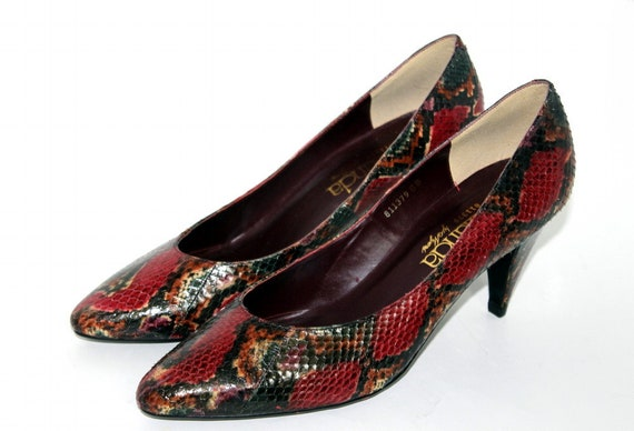 f526515b11471 Vintage 1980s Snakeskin Shoes - Red Green Black Yellow Brown Heels Pumps By  Amanda Dead Stock 80s Shoes