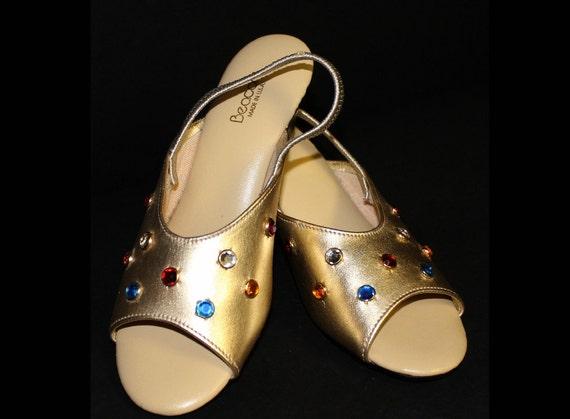 Vintage 1960s Shoes Rhinestone Slingbacks Gold Vin