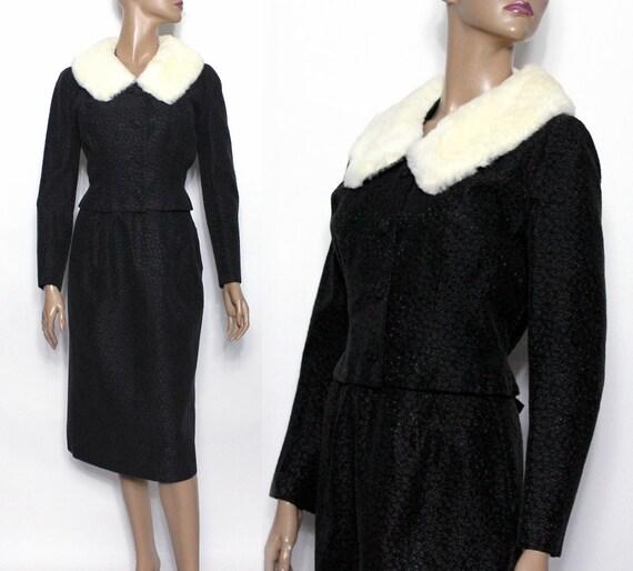 Vintage Lilli Ann Suit // Black // White Mink Coll