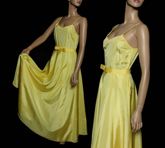 Vintage 1930s Dress Yellow Cocktail Party Prom Dre