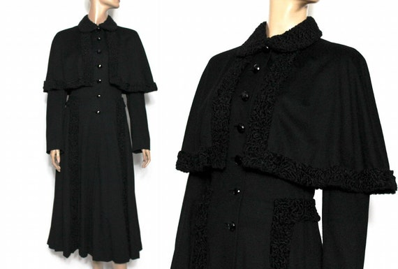 1940s Princess Coat// Black// Wool// Attached Cape