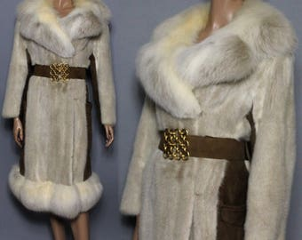 Vintage Fur Coat//Mink Coat//Fox Fur Coat//70s Mink//Blonde Mink//Suede Leather//Fox Fur Collar//Lined//Designer Swanson Son's Fur Salon