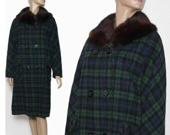 Vintage 1950s Coat// Designer Dee Dee Deb// Fox Fur Collar// Double Breasted //Blue// Green// Plaid// Satin Lined//Wool// 50s Coat