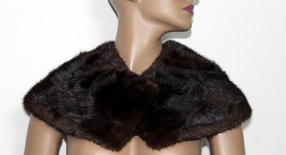 Vintage 1950s Mink Collar// Brown Fur Collar// 50s