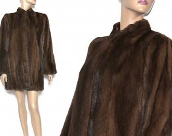 Vintage Fur Coat - Brown Mink nice Stoller Length Built in Shoulder Pads Two front Pockets Open Side Slits for Belt Paris Designer Glamorous