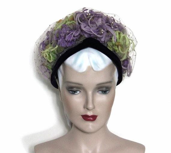 Vintage Hat// 1950's //  Netting // Pillbox Hat //