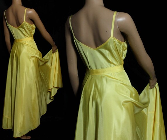 Vintage 1930s Dress Yellow Cocktail Party Prom Dr… - image 3