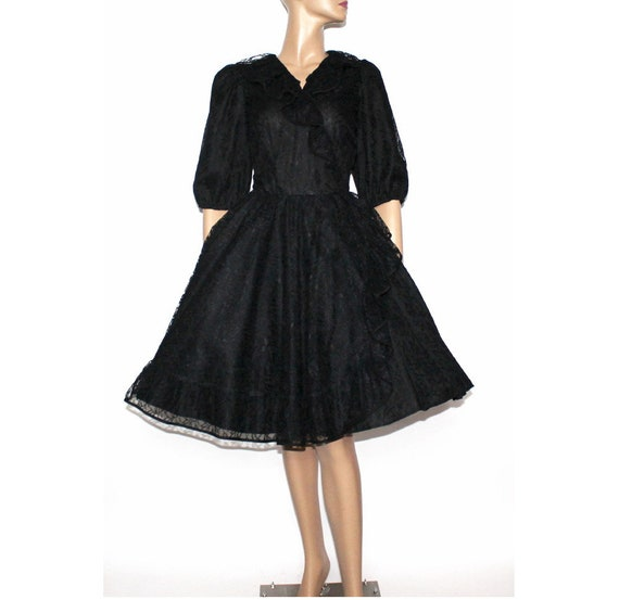 Vintage 1970's Dress//Square Dance Dress//Black Dr
