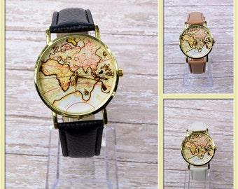 Map Watch, Leather Wrist Watch, World Map Woman Leather Watch, World Map Travel Gift Ideas,Man Leather Wrist Watch,Birthday Gifts,Woman Gift