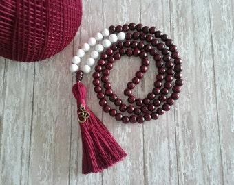 108 Mala Bead, Handmade Jewelry, Bohemian Jewelry,  YOGA Mala Necklace, Mala Bead, Wood Bead Mala, Bead Tassel Necklace, Yoga Beads