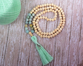 108 Mala Bead, Stone of Succes and Abundance Amazonite Gemstone Tassel Necklace, Teen Gift, Mala Tassel Bead Necklace, Bohemian Jewelry