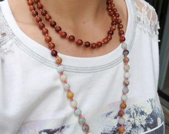 Hand Knotted 108 Mala Bead, Mala Necklace, Knotted Bead Necklace,Mala Necklace Bohemian Jewelry, Mala Bead Necklace, Wood Bead Necklace