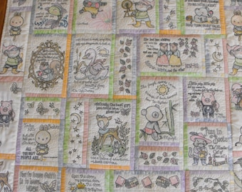 Deposit Machine Embroidered Baby Quilt, baby quilt, machine embroidered quilt, nursery rhyme quilt,custom baby quilt, handmade baby quilt