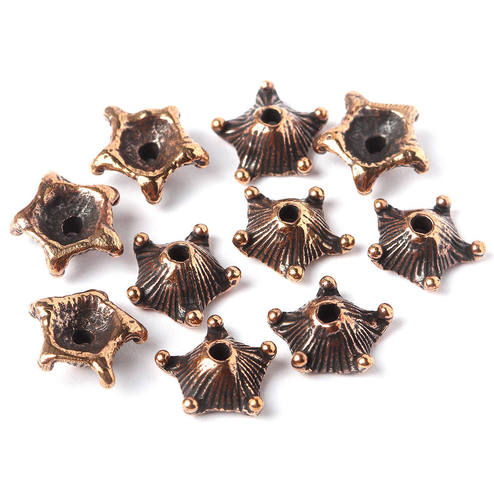 Flower shape bronze nature inspired plant bead cap antique bronze shape artisan jewelry findings 0515. Designed and made by Anna Bronze 119d62