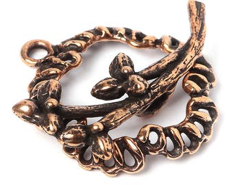 Flower toggle clasp Medium size bronze jewelry findings, branch 2889(1). Designed and made by Anna Bronze