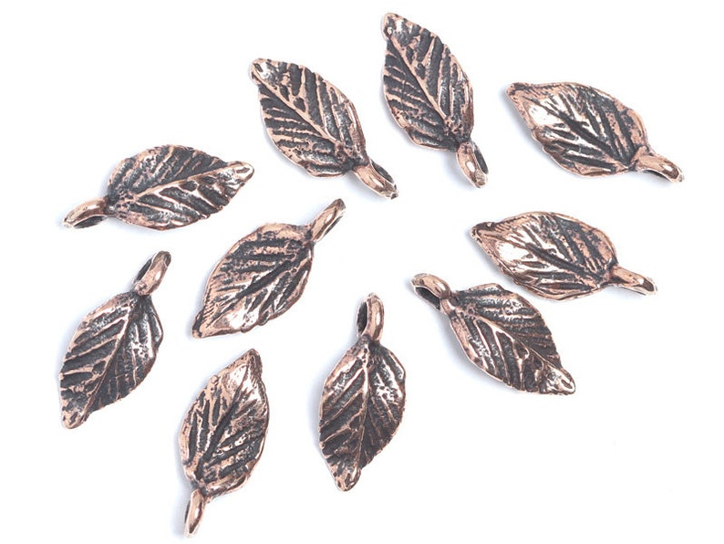 Designed and made by Anna Bronze necklace 3126 Nature inspired tree leaf charms antique bronze findings for jewelry making earrings