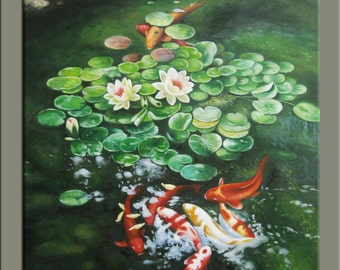 original painting,hand original oil painting,framed,ready to hang, huge 30''x40''  animals painting Koi fish OR96
