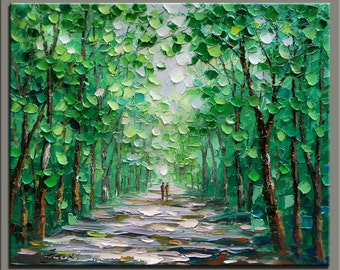 original oil painting,impasto  oil on canvas,hand painted,  palette knife painting forst landscape