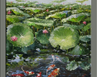 original painting,hand oil painting,impasto,hand oil on canvas,framed,ready to hang,huge 30''x36''  oil painting koi fish&lotus