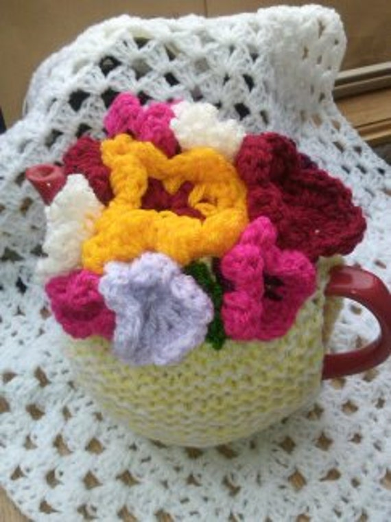 Shabby Chic Kitsch Flower Tea Cosy Knitting Pattern Double Etsy