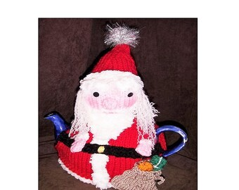 TEA COSY Knitting Pattern, Christmas Tea Cosy Knitting Pattern, Christmas Tea Cosy, Father Christmas Tea Cosy, Santa Tea Cosy Pattern