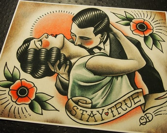 72d196035 Stay True Traditional Tattoo Print
