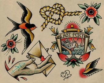 Gypsy Tattoo Art Print   Etsy