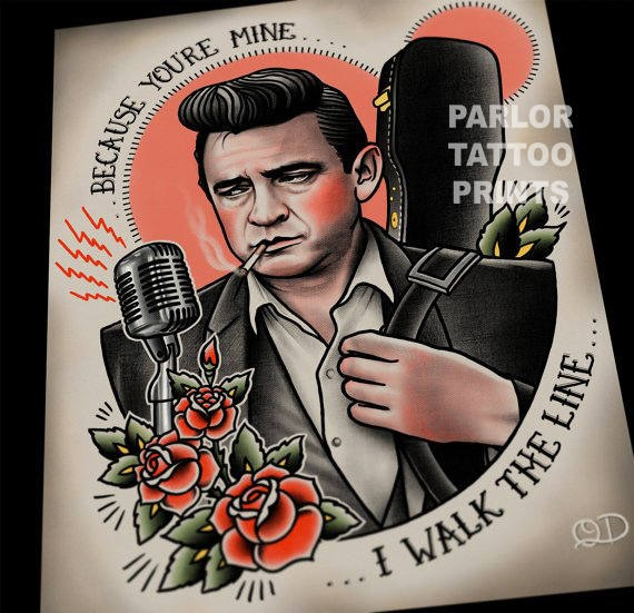Johnny Cash Tattoo Flash Art Print Etsy