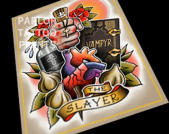 Buffy The Vampire Slayer Tattoo Flash Art Print