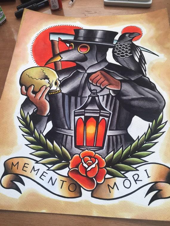Plague Doctor Memento Mori Tattoo Print Etsy