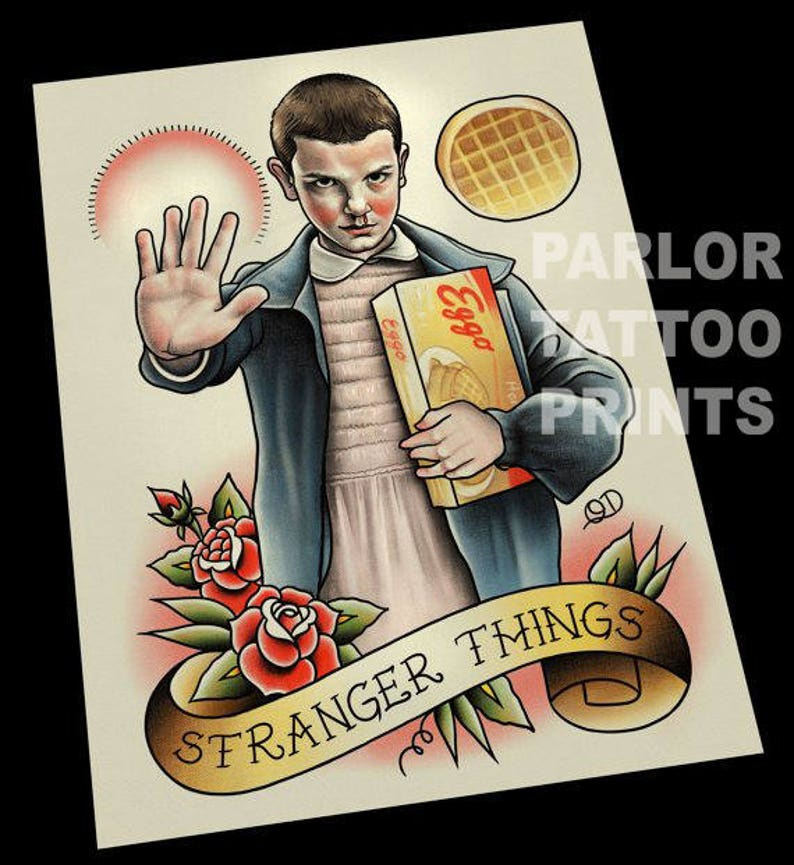 Eleven Stranger Things Tattoo Art Print image 0