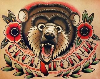 California Bear Old School Tattoo Flash
